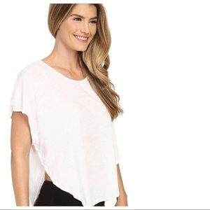 Beyond Yoga White Dolman Shirt Yoga Top Scalloped
